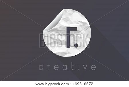 T Letter Logo with Crumpled And Torn Wrapping Paper Texture Vector.