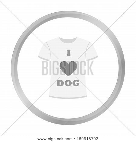 Shirt I love dogs vector illustration icon in monochrome design