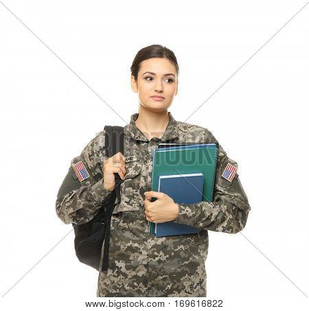 Pretty female cadet of military school on white background