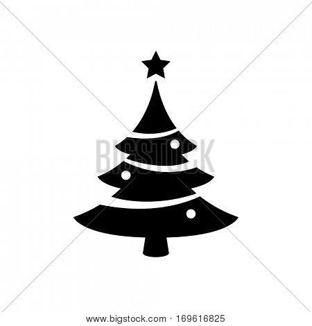 Black christmas tree icon isolated on white