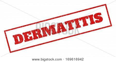 Red rubber seal stamp with Dermatitis text. Vector tag inside rectangular frame. Grunge design and dirty texture for watermark labels. Inclined sticker.