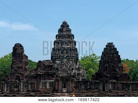 The Phimai Historical Park is an ancient Khmer temple in northeast Thailand connected by an ancient road to Cambodia's Angkor Wat