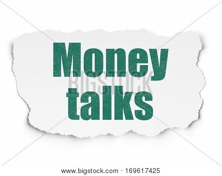 Finance concept: Painted green text Money Talks on Torn Paper background with  Binary Code