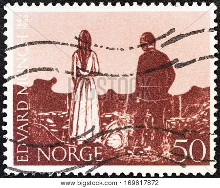 NORWAY - CIRCA 1963: A stamp printed in Norway issued for the birth centenary of Edvard Munch (painter and engraver) shows