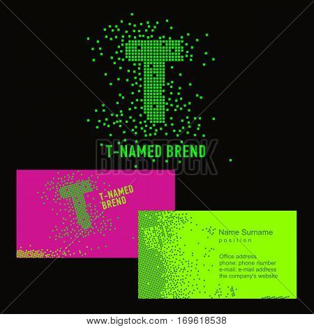 Template T brand name -Company. Corporate identity for the company on the letter T: logo, business card. Creative logo of pixels consists of particles letter T