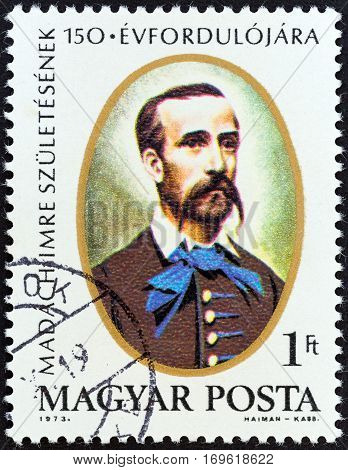 HUNGARY - CIRCA 1973: A stamp printed in Hungary issued for the 150th birth anniversary of Imre Madach shows writer Imre Madach, circa 1973.