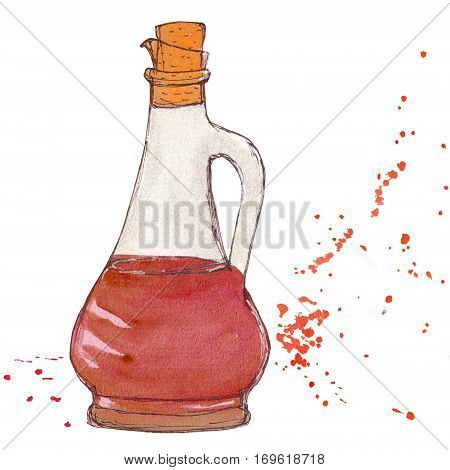 Vinegar bottle with cork and splashes of vinegar balsamic sauce. Watercolor sketchy illustration.