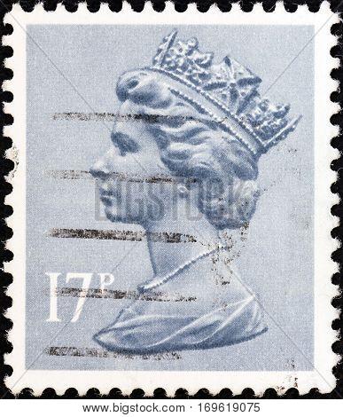 UNITED KINGDOM - CIRCA 1971: A stamp printed in United Kingdom shows Queen Elizabeth II, circa 1971.