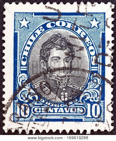 CHILE - CIRCA 1930: A stamp printed in Chile shows independence leader Bernardo O'Higgins Riquelme, circa 1930.