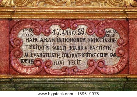 ZAGREB, CROATIA - MAY 16: Detail of the main altar in chapel of Saint Roch, Croatia on May 16, 2016.