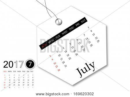 July 2017 - Calendar series for tag design