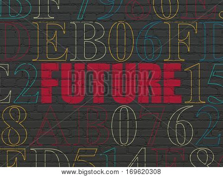 Timeline concept: Painted red text Future on Black Brick wall background with Hexadecimal Code