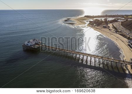 Aerial of Malibu Pier, Surfrider Beach and Malibu Lagoon in Southern California.