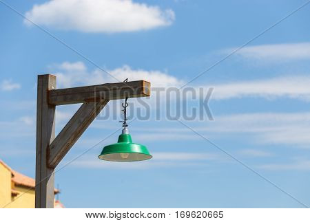 outdoor classic gree lamp with clear sky