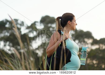 Pregnant Motivated Woman On Outdoor Fitness Healthy Workout