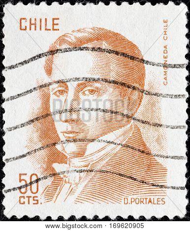 CHILE - CIRCA 1975: A stamp printed in Chile shows politician Diego Portales (1793-1837), circa 1975.