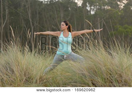 Pregnant Fitness Woman Doing Yoga Exercise Outdoor