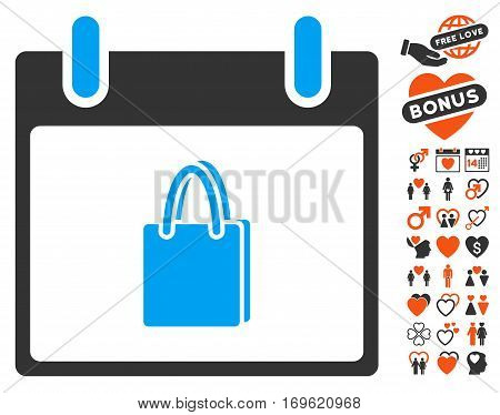 Shopping Bag Calendar Day icon with bonus valentine images. Vector illustration style is flat iconic elements for web design app user interfaces.