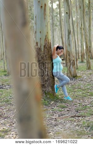 Pregnant Sporty Woman Taking A Workout Rest Outdoor