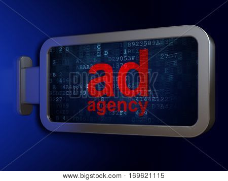 Advertising concept: Ad Agency on advertising billboard background, 3D rendering