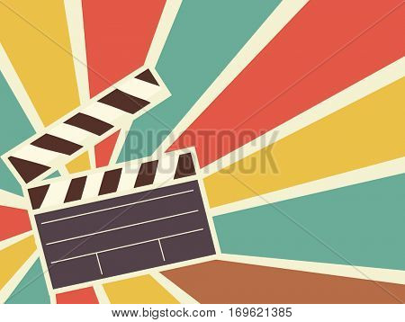 Retro Illustration Featuring a Clapperboard Framed by a Colorful Burst of Light