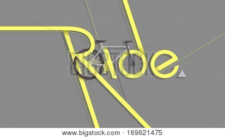Typography Illustration Featuring a Bicycle and a Bike Lane Designed to Spell the Word Ride