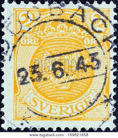 SWEDEN - CIRCA 1910: A stamp printed in Sweden shows crowns, circa 1910.