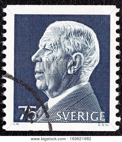 SWEDEN - CIRCA 1972: A stamp printed in Sweden shows King Gustaf VI Adolf, circa 1972.