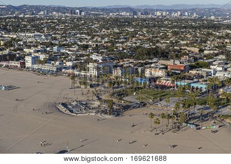 Los Angeles, California, USA - December 17, 2016:  Aerial of Venice boardwalk and beach on the Southern California Coast.