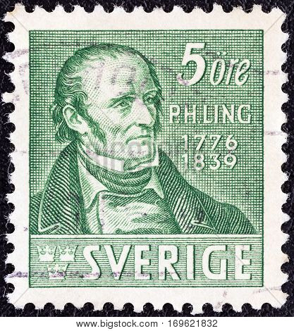 SWEDEN - CIRCA 1939: A stamp printed in Sweden issued for the death centenary of Pehr Henrik Ling (creator of Swedish Drill) shows Pehr Henrik Ling (after J.G. Sandberg), circa 1939.
