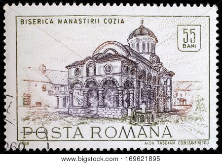 ZAGREB, CROATIA - JULY 19: a stamp from Romania shows image of Cozia monastery church, from the historic monuments series, circa 1968, on July 19,2012.
