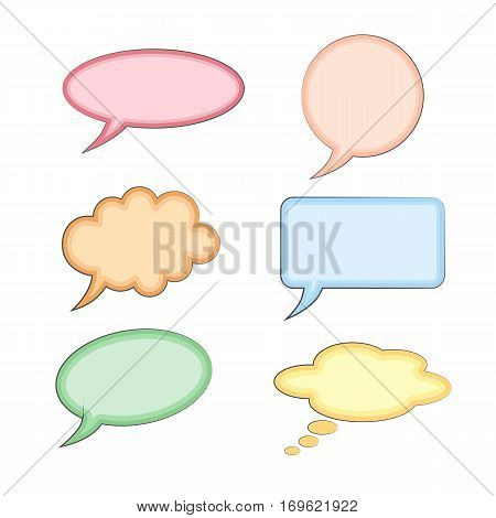 Empty comic collection trendy colored cloud pop art vector comic box. Set message comic bubble speech cartoon expression illustration