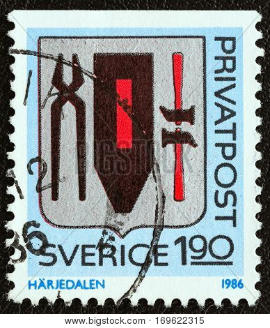 SWEDEN - CIRCA 1986: A stamp printed in Sweden from the