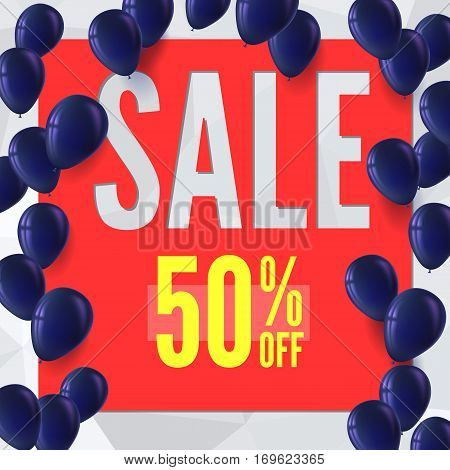 Sale banner on low poly background with inflatable balloons for luxury sales offers. Modern, colorful design with red and yellow inflatable balloons.