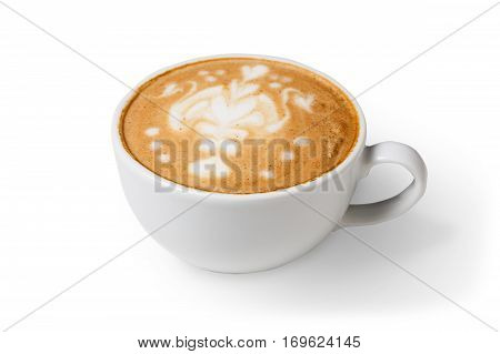 Cappuccino with frothy foam, coffee cup closeup isolated on white background. Cafe and bar, barista art concept.