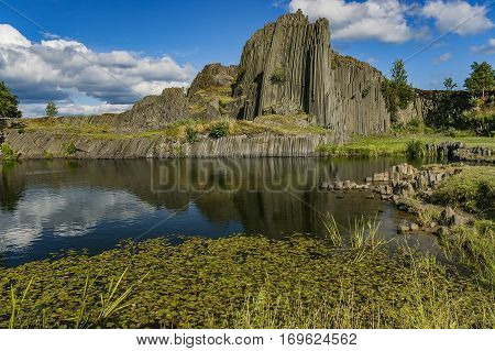 View of the basalt hill with sky background / Czech Republic