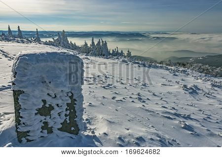 View to a winter landscape Beskydy mountains / Czech Republic