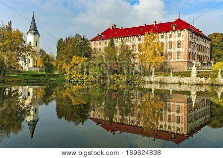 Autumn view of the baroque chateau Libochovice/Czech Republic