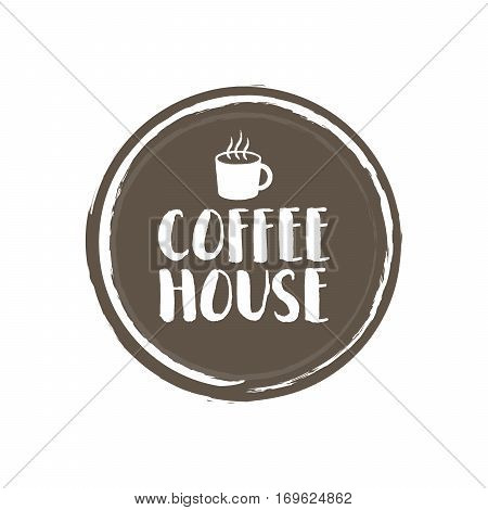 Coffe House Letters And Cup. Grunge Circle Background. Vector Illustration