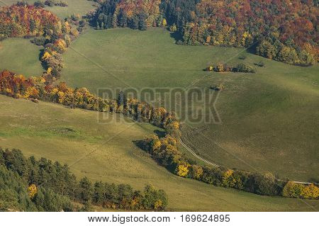 View at the autumn meadows in Sulovske rocks in Slovak
