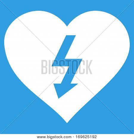 Power Love Heart flat icon. Vector white symbol. Pictogram is isolated on a blue background. Trendy flat style illustration for web site design logo ads apps user interface.