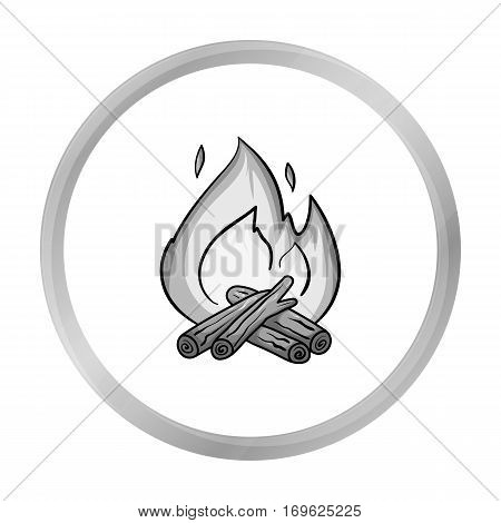 Campfire icon in monochrome design isolated on white background. Fishing symbol stock vector illustration.