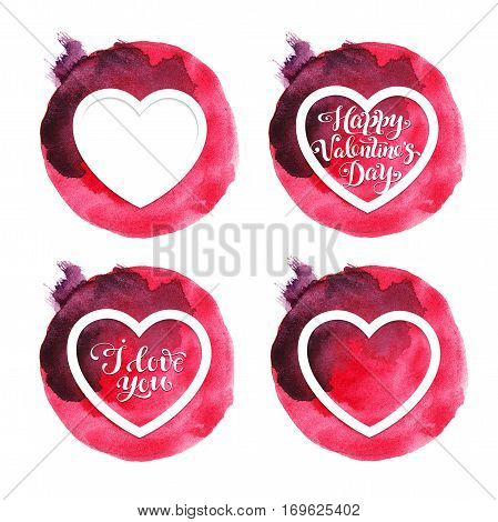 Four red watercolor Valentine cards with hearts for Valentines day. I love you card. Happy Valentines day card.