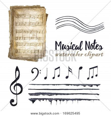 Watercolor black musical notes set. Treble clef and G clef old music books stave and different notes on white background. Greeting object art.