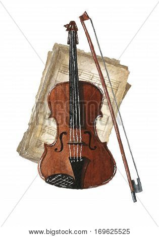 Watercolor bright card with violin and bow on retro music books. Hand drawn vintage collage illustration with music books violin and bow.Greeting object art.