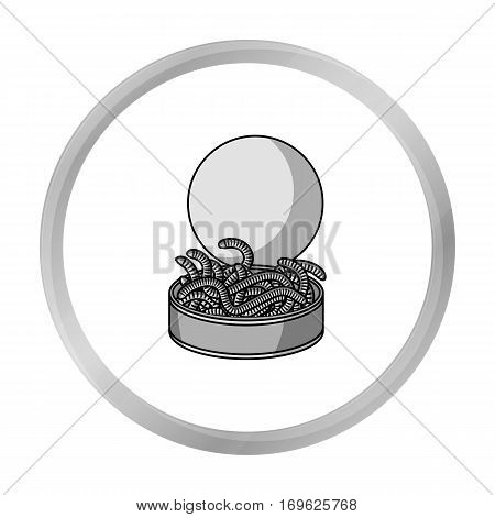 Tincan full of worms icon in monochrome design isolated on white background. Fishing symbol stock vector illustration.