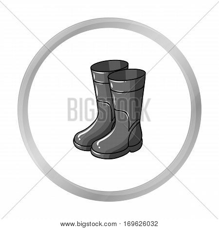 Rubber boots icon in monochrome design isolated on white background. Fishing symbol stock vector illustration.