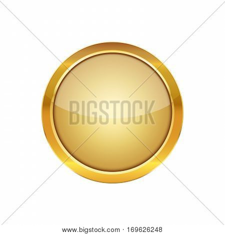 Golden round button with a metal frame. Vector illustration. Glossy round button with isolated on white background.