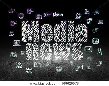 News concept: Glowing text Media News,  Hand Drawn News Icons in grunge dark room with Dirty Floor, black background