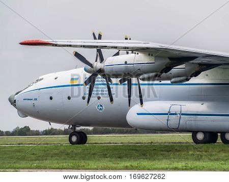 Kiev Region Ukraine - September 25 2008: Antonov An-22 turboprop cargo plane on the taxiway before flight